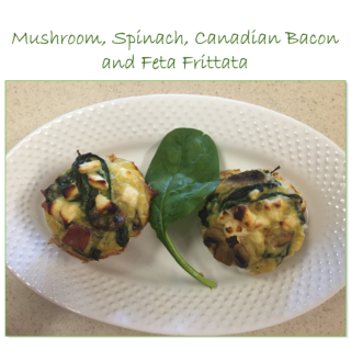 Mushroom, Spinach, Canadian Bacon and Feta Frittata