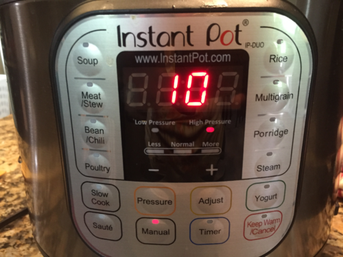 Set Instant Pot to Manual / High Pressure for 10 minutes.  Quick Release (QR)