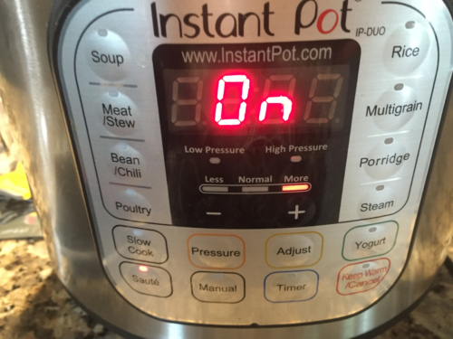 Coat Instant Pot stainless steel pot with cooking spray and set to Saute / More.