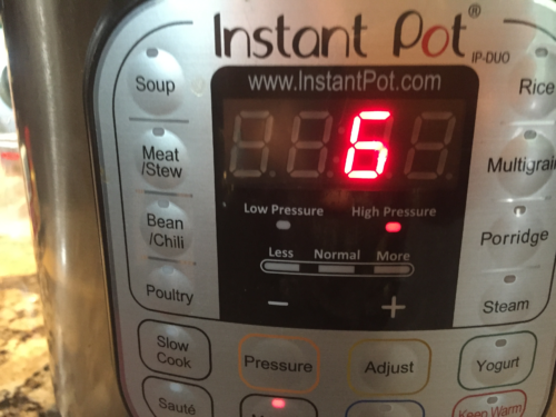 Set Instant Pot to Manual / High Pressure for 6 minutes.