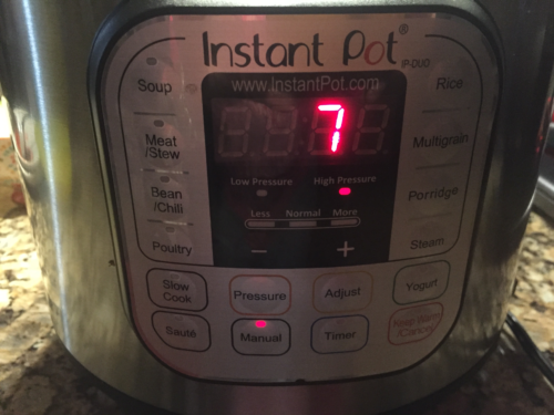 Set Instant Pot to Manual / High Pressure for 7 minutes. Quick Release (QR)