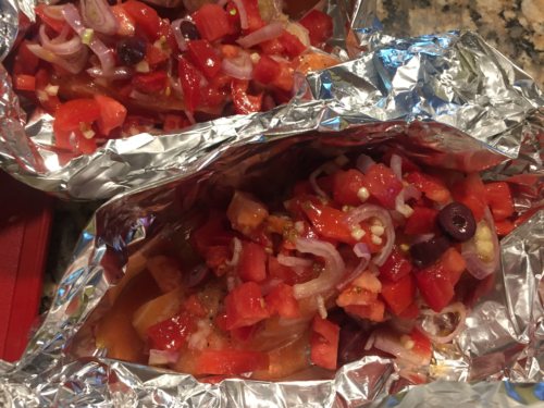 """Add the """"salsa"""" on top of the salmon."""