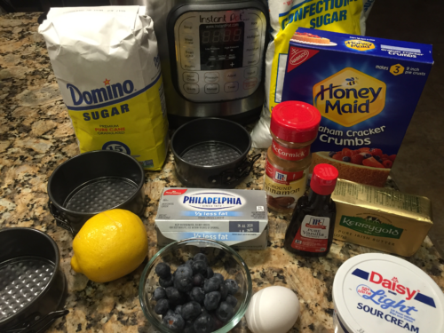 Ingredients for Instant Pot Mini Blueberry Lemon Cheesecakes