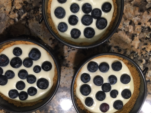 Add blueberries to the top of the cheese mixture. Use as many or as few as you would like.