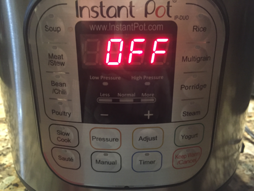At the end of the 7 minutes turn the Instant Pot off and let it sit for 10 minutes.