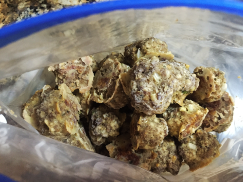 Remove meatballs from aluminum foil and place into an airtight bag such as a ziplock.