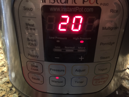 Set Instant Pot to Manual / High Pressure for 20 minutes.
